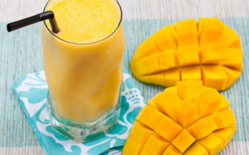 Fresh tropical fruit smoothie mango juice